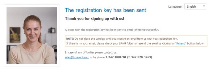 Chave de Registro foi Enviada